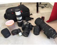 Canon 60d + objectifs + flash + sac