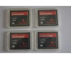 4 Cartes compact flash SANDISK Extrême 8GB