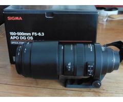 Téléobjectif Sigma 150-500 f5-6.3 apo dg os, TBE