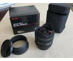 Fisheye Sigma 10 mm F2.8 EX DC HSM pour Canon EF